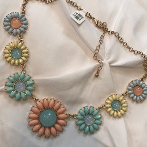 Multicolored daisy statement necklace